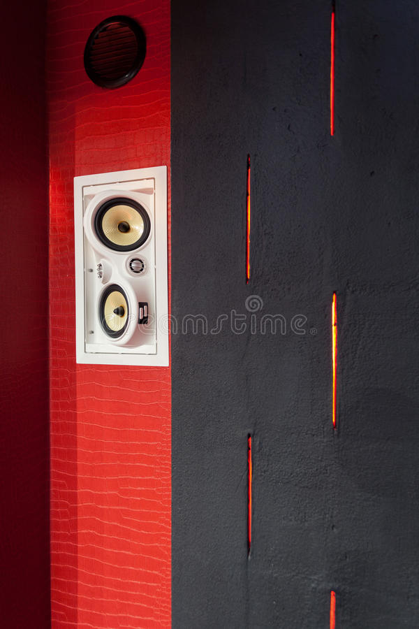 Speakers at home cinema stock image