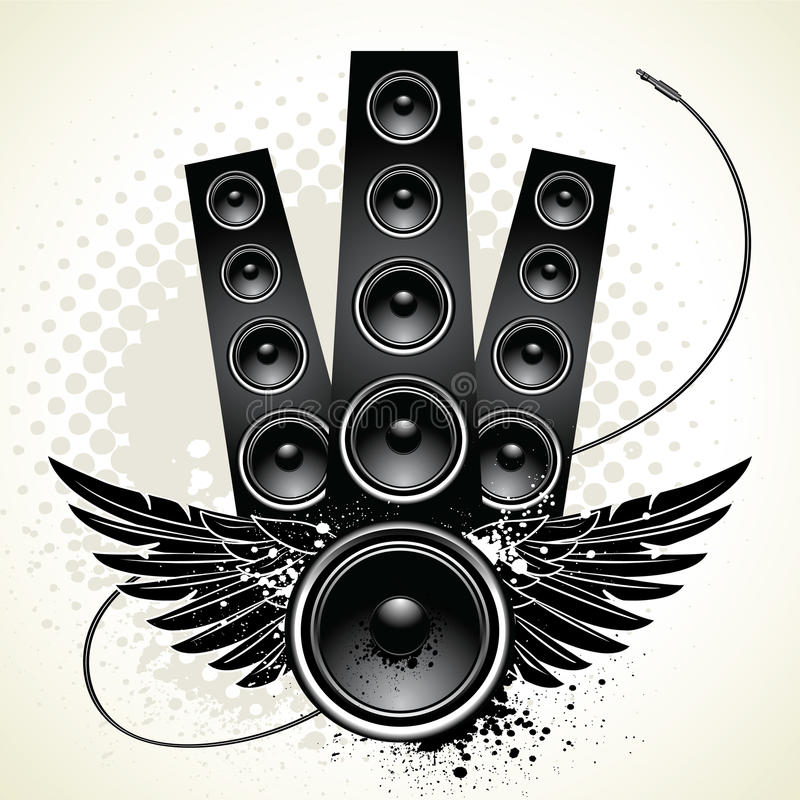 Speakers with wings and wire vector illustration