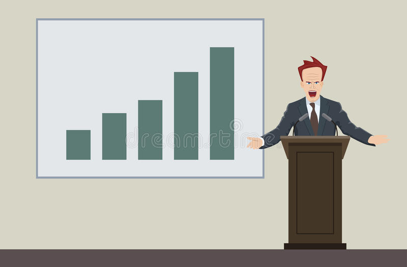 Download Speaking Businessman And Bar Graph Stock Vector - Image: 83717074