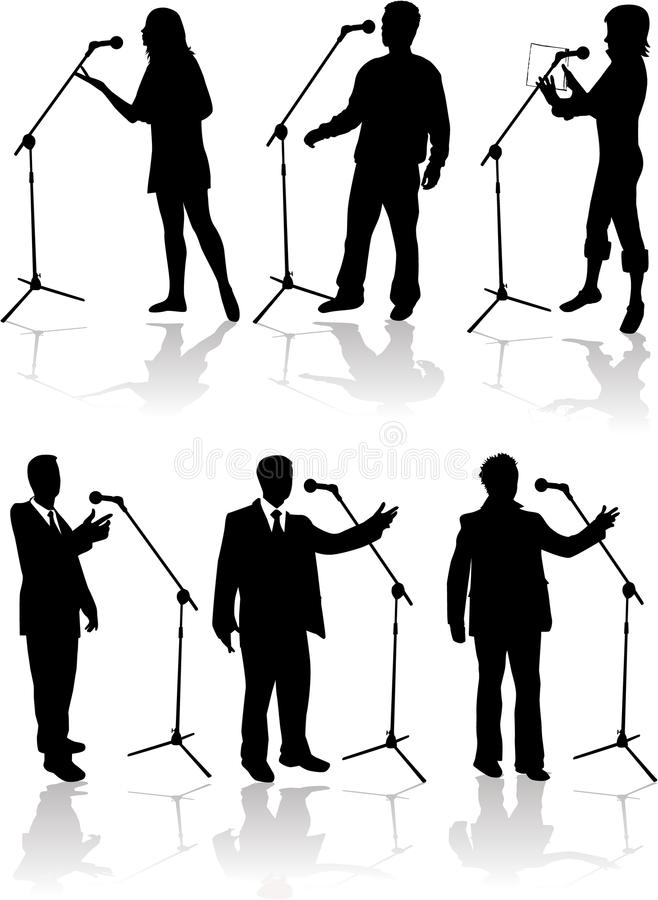 Speaking Into The Microphone Stock Images