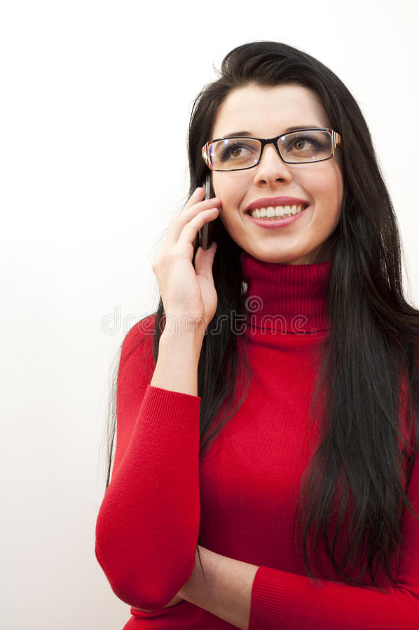 Speaking on the phone stock image