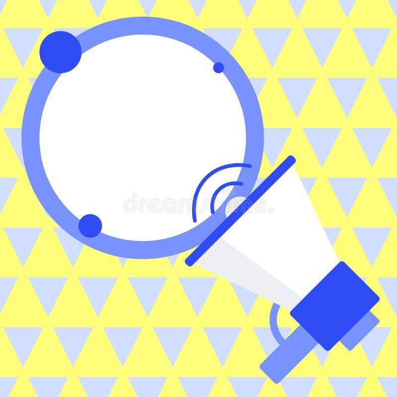 SpeakingTrumpet con el icono del volumen y la burbuja redonda en blanco del discurso Globo vacío coloreado del texto que flota al stock de ilustración