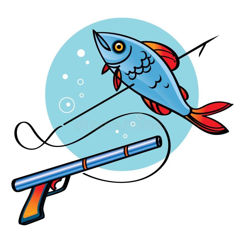Spear Fishing. Sea ocean diving sport hobby catch harpoon royalty free illustration