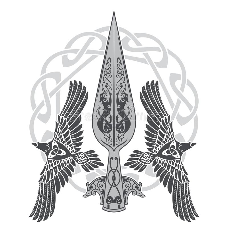 The Spear Of The God Odin - Gungnir. Two ravens and Scandinavian pattern. Isolated on white, vector illustration vector illustration