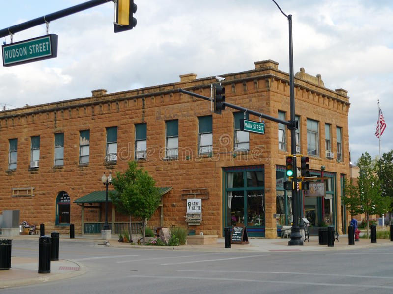 Spearfish, Южная Дакота Гудзон и основа с историческим зданием стоковые фотографии rf