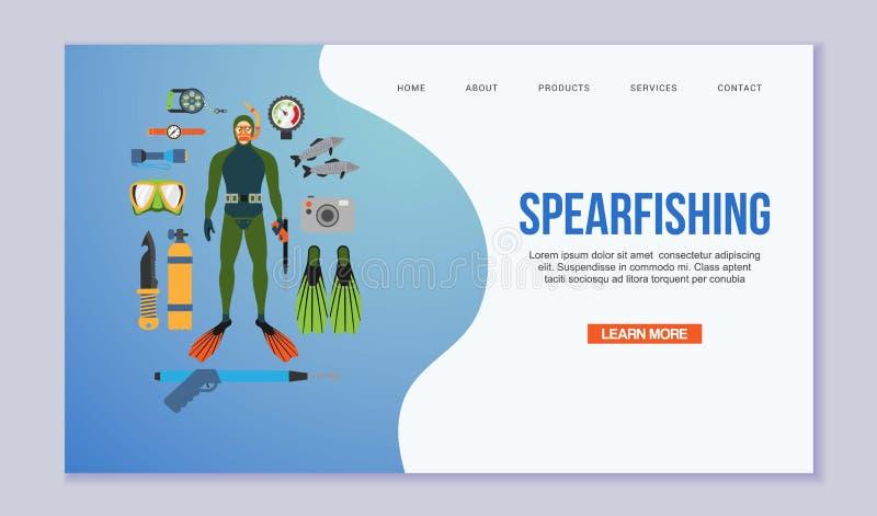 Spearfishing en het duiken vectordieillustratie op wit wordt geïsoleerd Scuba-duiker in een duikkostuum en vinnen, vissen, het sp stock illustratie