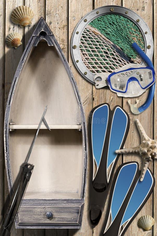 Spearfishing - Kleine Houten het Roeien Boot royalty-vrije illustratie
