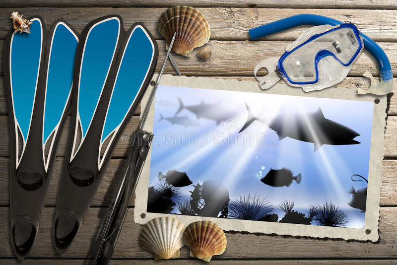 Spearfishing Photo Frame with Sea Abyss. Aged photo frame with sea abyss landscape on wooden floor with sand, seashells, flippers, snorkel and mask for diving royalty free illustration