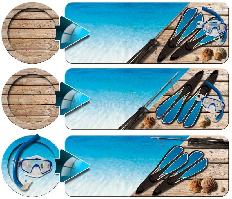 Spearfishing três bandeiras - N2 ilustração stock
