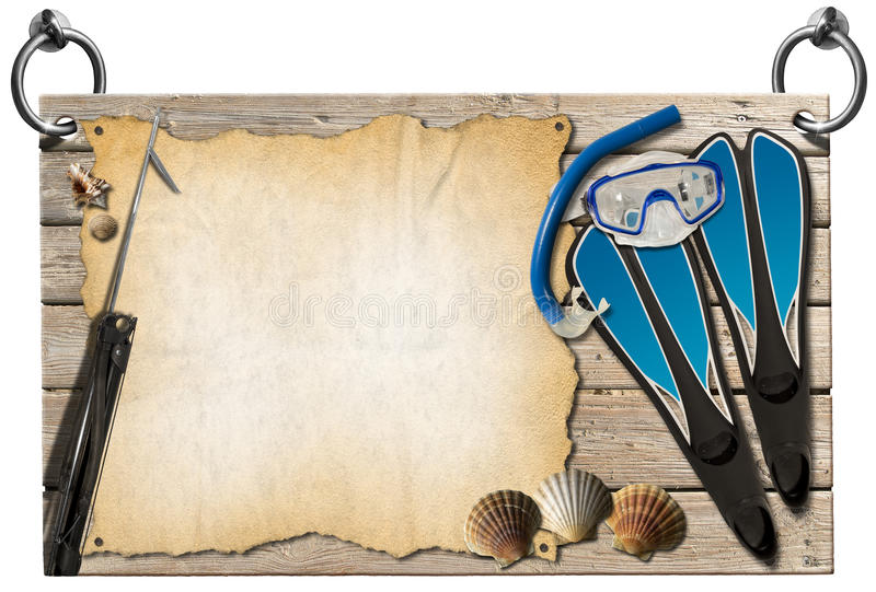 Spearfishing - Wooden Signboard. Wooden signboard hanging on steel rings with equipment for spearfishing, seashells and empty parchment stock illustration