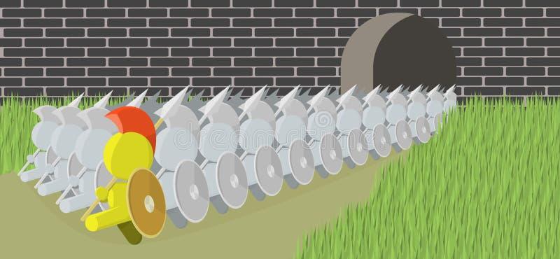 Spearman che marcia dall'illustrazione del castello illustrazione vettoriale
