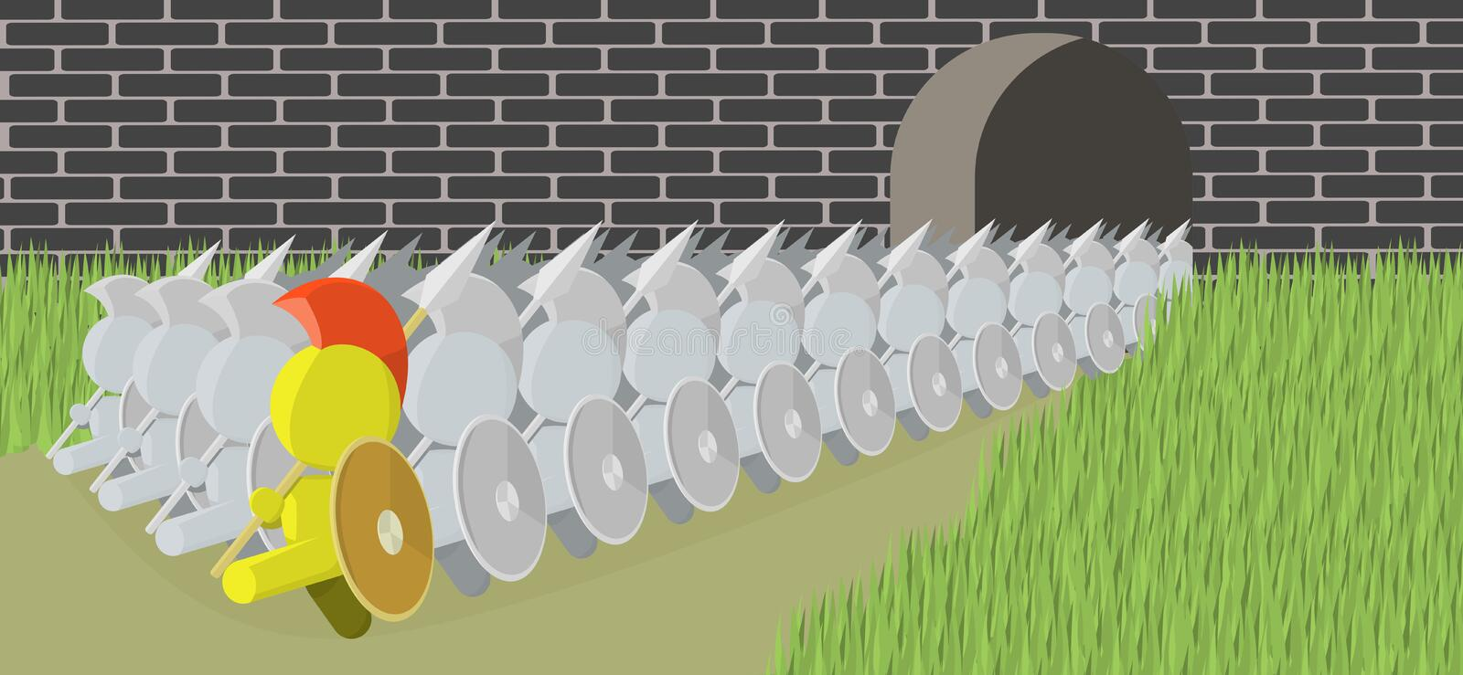 Download Spearman Marching Out Of Castle Illustration Stock Vector - Image: 20940278