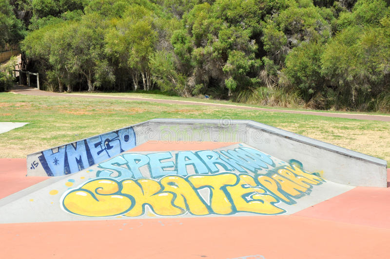 Spearwood Skate Park: Tagged Ramps. SPEARWOOD,WA,AUSTRALIA-JANUARY 5,2016: View of skate ramps with and tagging at Spearwood Skate Park in Spearwood, Western royalty free stock image