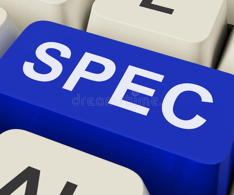 Spec Keys Show Specifications Details Or Design stock photo