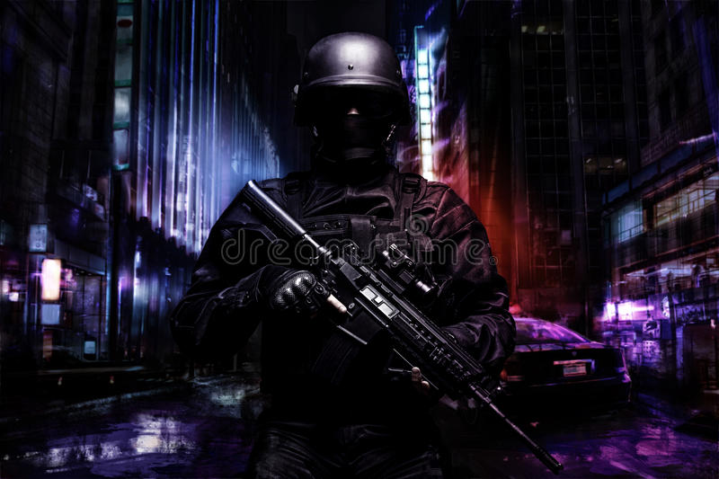 Spec ops police officer stock image