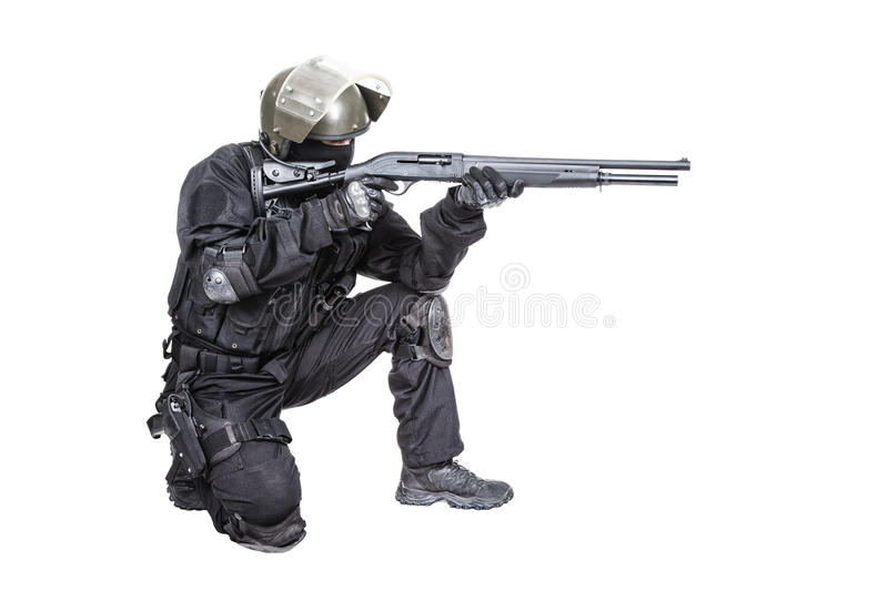 Spec ops soldier with shotgun stock image