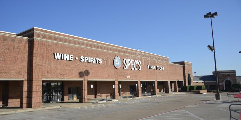 Spec`s Grocery Store, Fort Worth, Texas. Spec`s is a grocery store that also sells wine, spirits and finer foods located in Fort Worth, Texas stock image