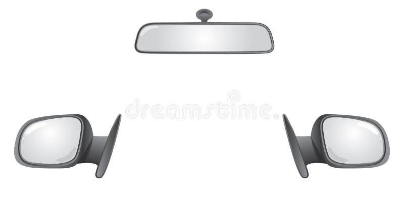 Specchi della parte posteriore della parte posteriore dell'automobile illustrazione vettoriale