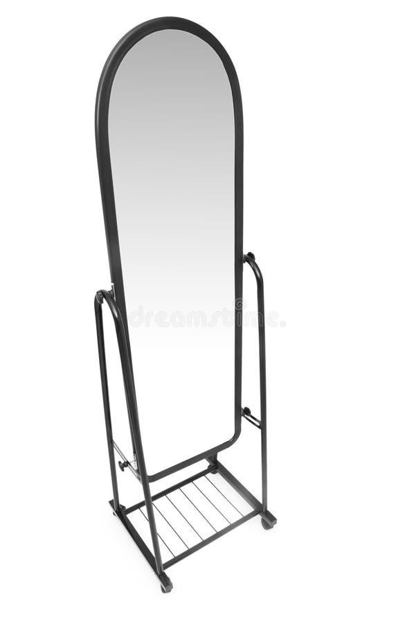 Specchio alto isolato sul bianco fotografia stock