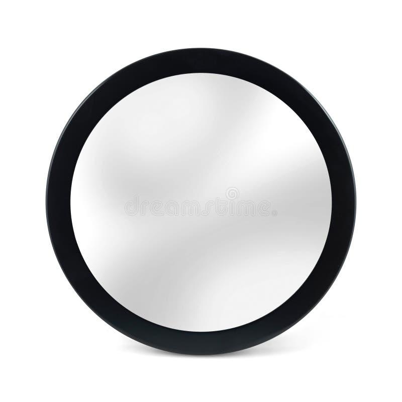 Specchio arrotondato nel telaio nero - isolato su bianco fotografia stock libera da diritti