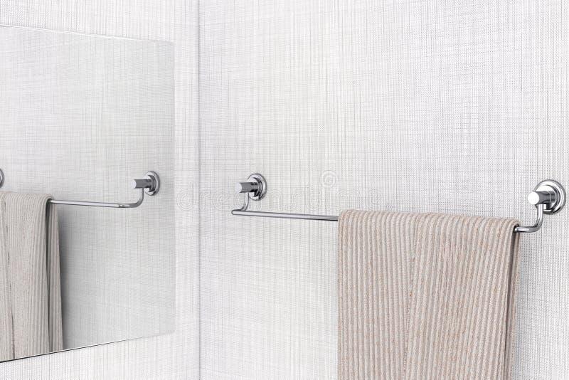 Specchio con l'asciugamano che appende sulla nuova tenuta lunga dell'asciugamano dell'acciaio inossidabile royalty illustrazione gratis