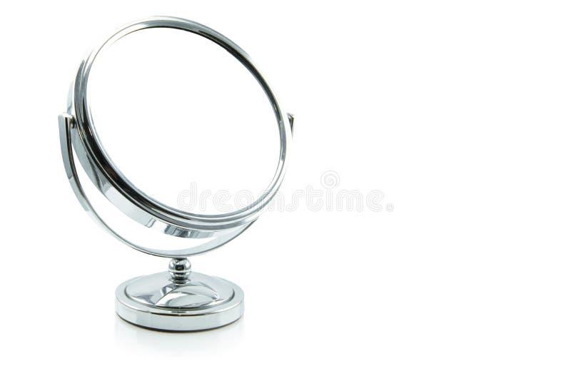 Specchio d'argento di trucco isolato su bianco fotografia stock libera da diritti