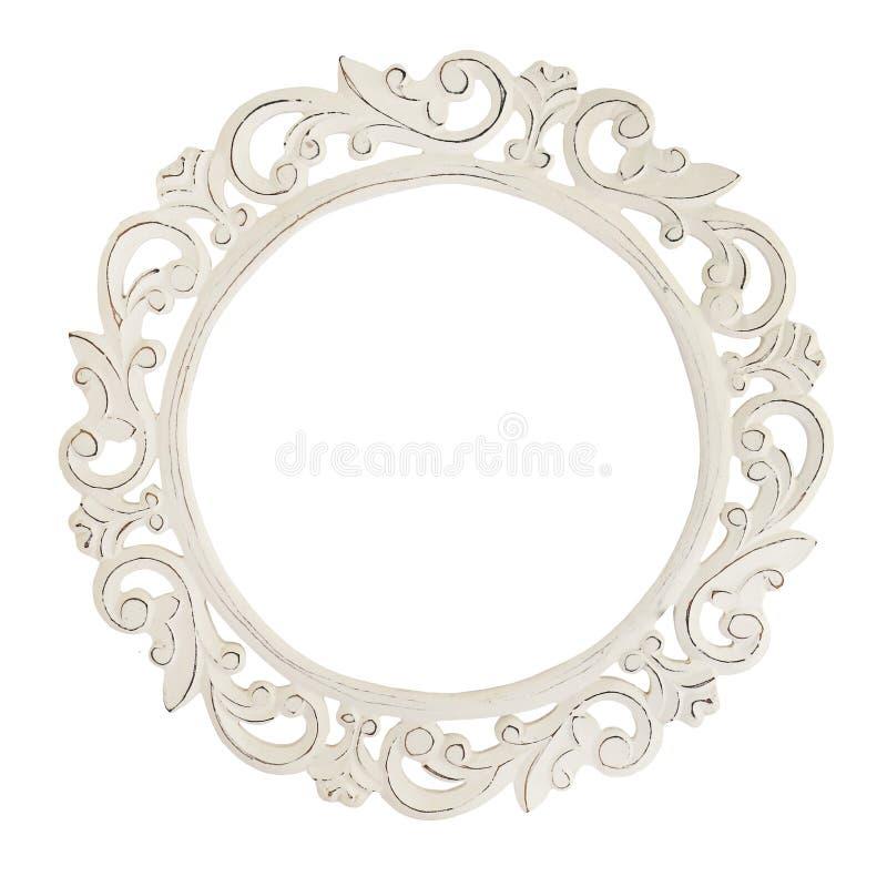Specchio della struttura di legno isolato su fondo bianco Dettagli dell'interno moderno di progettazione di eco di stile di boho fotografia stock