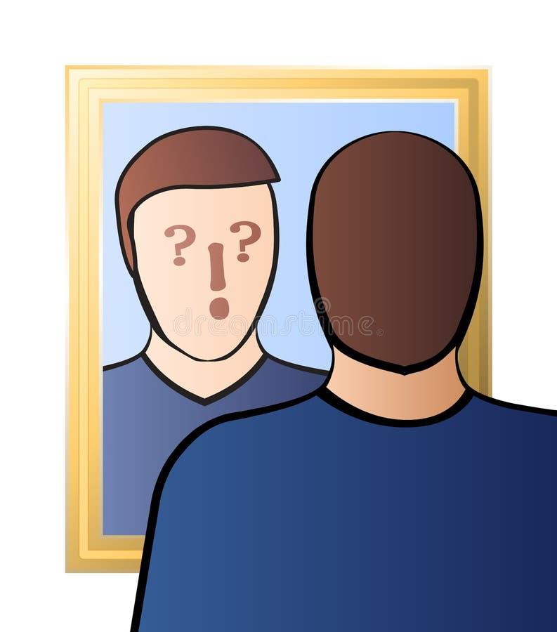 Specchio dubbioso di coscienza di scetticismo dell'uomo illustrazione di stock
