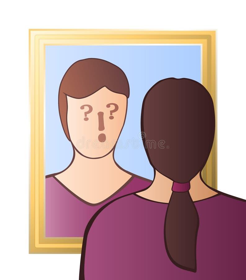Specchio dubbioso di coscienza di scetticismo della donna illustrazione di stock