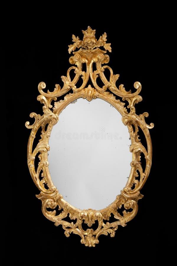 Specchio ovale antico dorato con vetro originale immagine - Specchio antico ovale ...