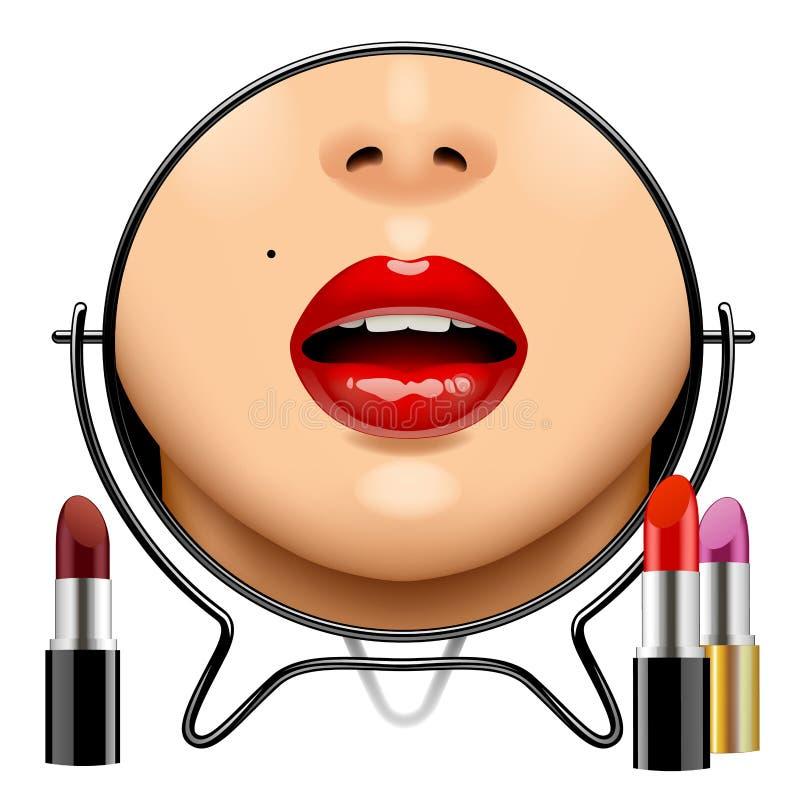 Specchio rotondo con la riflessione delle labbra del ` s della donna e l'insieme lucidi delle labbra royalty illustrazione gratis
