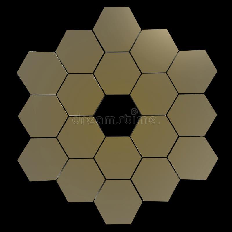 Specchio segmentato del telescopio illustrazione di stock for Specchio esagonale
