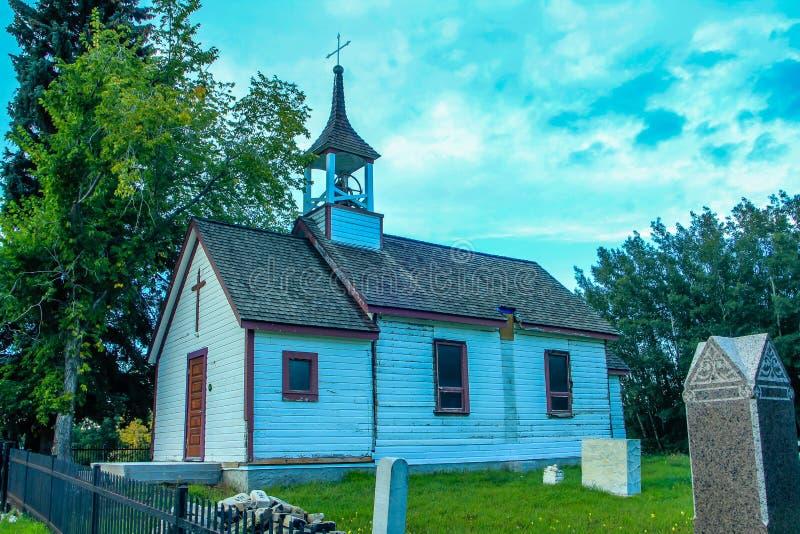 Specchio storico della chiesa, Alberta, Canada immagini stock libere da diritti