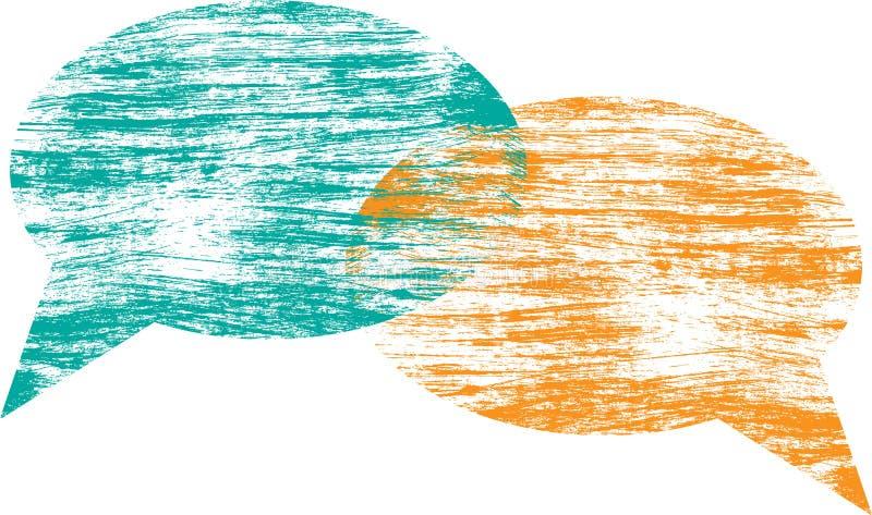 Grungeanförande bubblar stock illustrationer