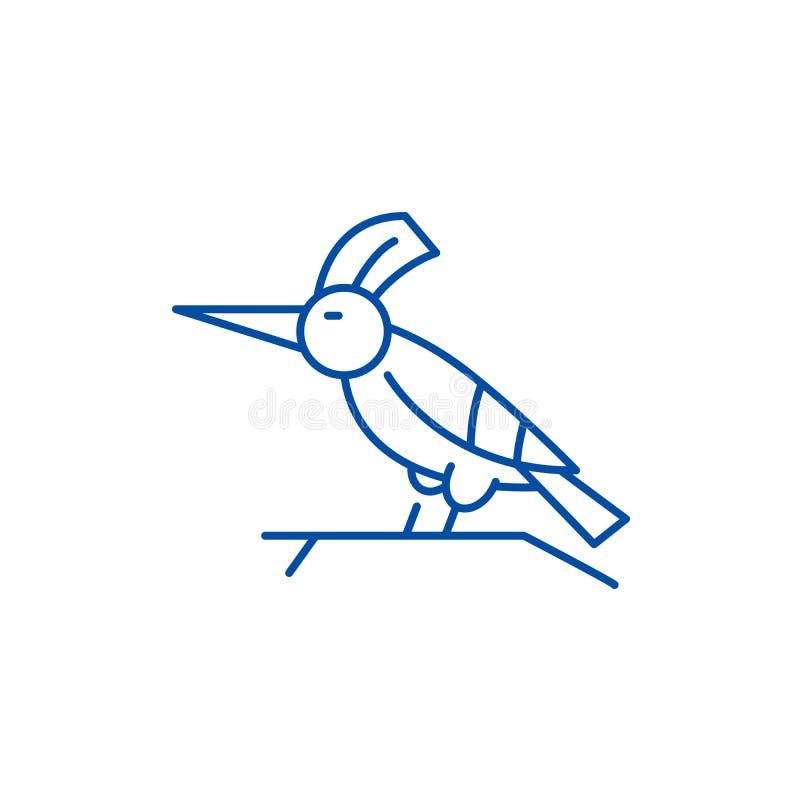 Spechtlinie Ikonenkonzept Flaches Vektorsymbol des Spechts, Zeichen, Entwurfsillustration vektor abbildung