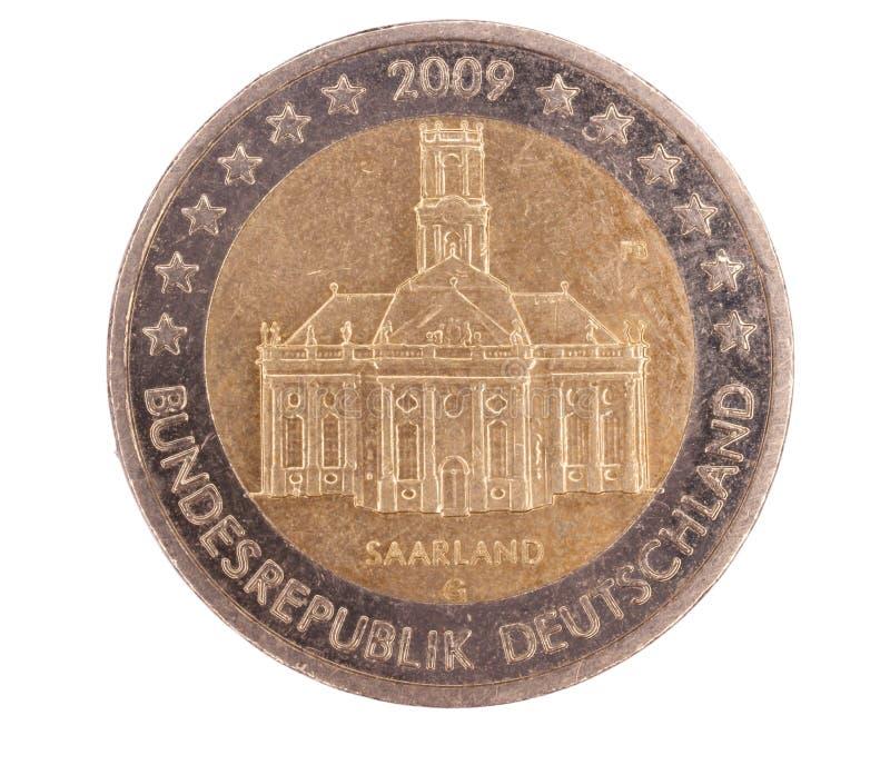 Speciaal euro muntstuk van Saarland Duitsland stock afbeeldingen
