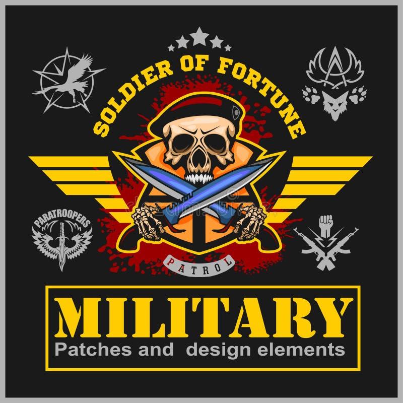 Speciaal krachten vectorembleem met schedel, munitie en vleugels vector illustratie