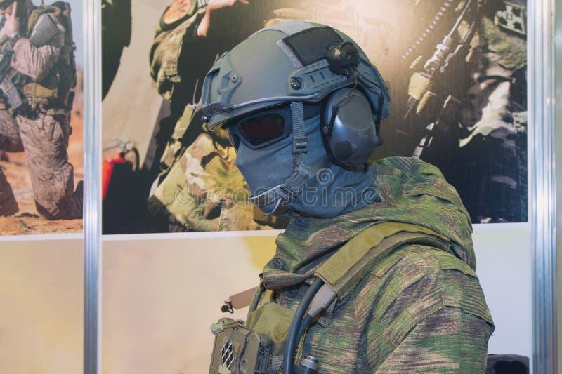 Speciaal leger eenvormig op ledenpop bij tentoonstelling stock foto's