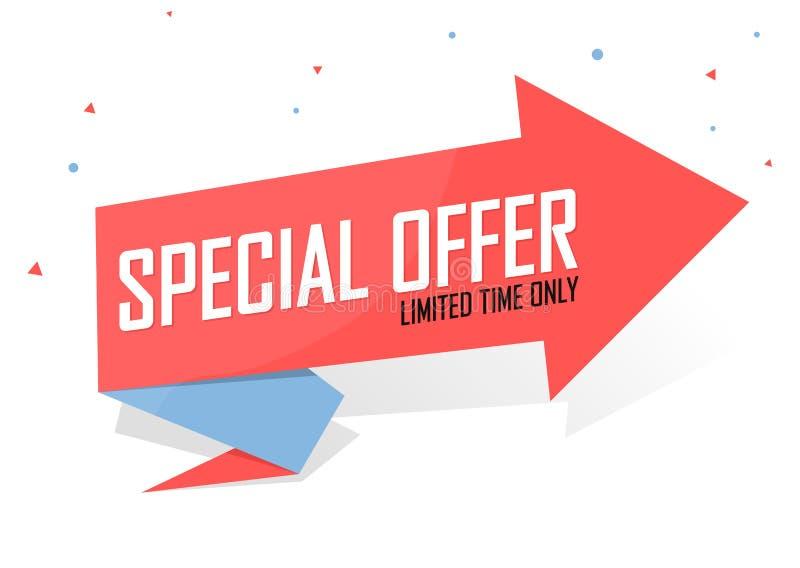 Speciaal voorstel, model van het bannerontwerp van de verkoop, kortingsmarkering, vectorillustratie royalty-vrije stock afbeelding
