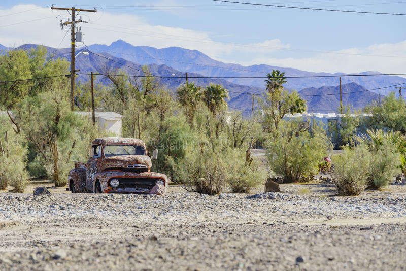 Special abandoned car at Tecopa stock photography