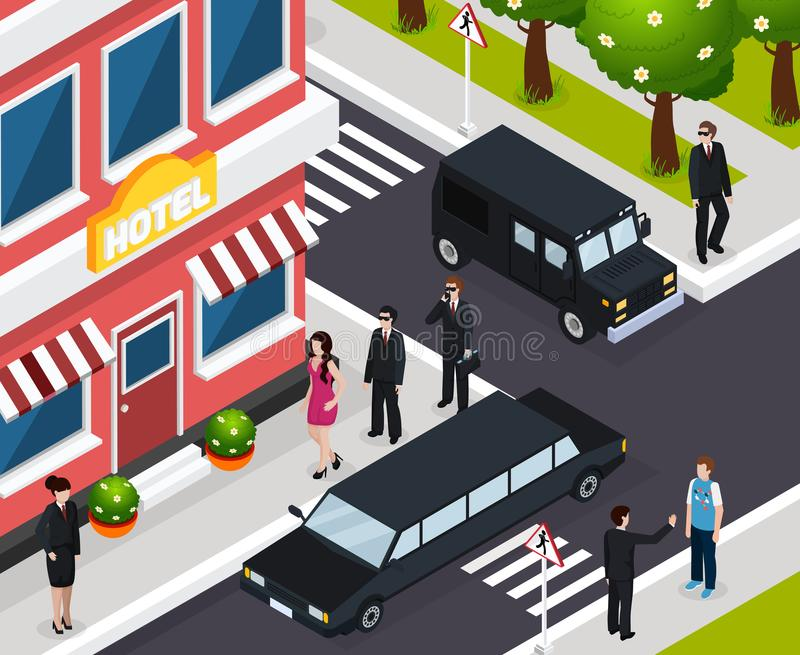 Special Agent Isometric Composition royalty free illustration