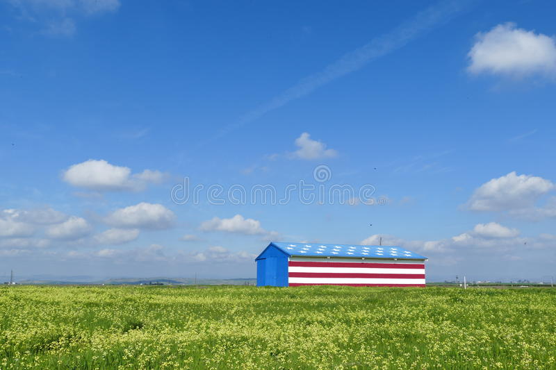 Special American flag style house. With flower field and blue sky royalty free stock images