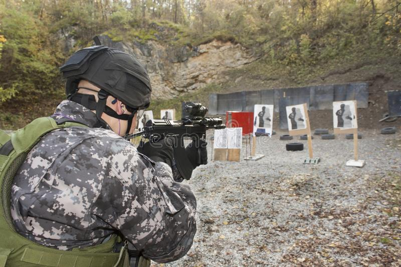 Special anti-terrorist squad. Coached at the shooting range, consultation, meeting stock photography