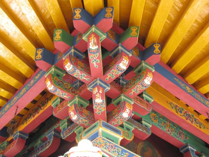 Special architectural structure of the top of Tibetan Buddhism royalty free stock photography