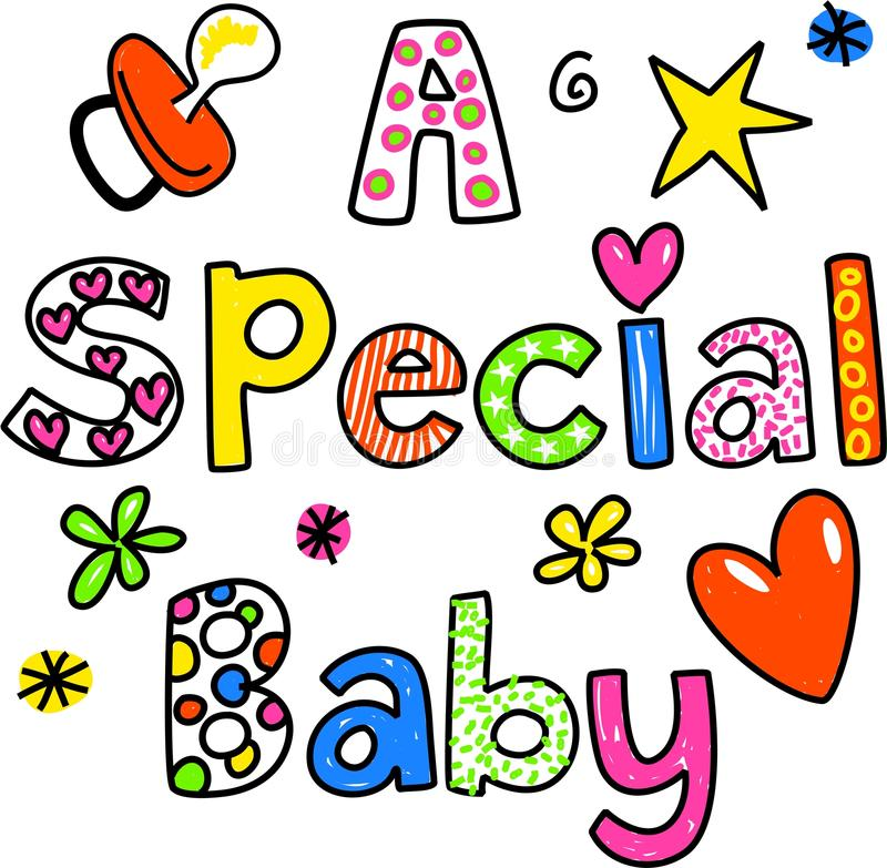 A Special Baby. Hand drawn and coloured whimsical cartoon special occasion text that reads A SPECIAL BABY royalty free illustration