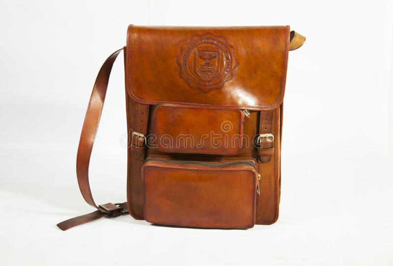 A special backpack made of leather of cow color brown. A special backpack made of leather of cow to carry everything to everywhere and very strong and a big stock photo