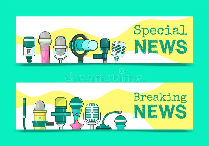 Special breaking news on TV set of banners vector illustration. Journalism concept. Live speech. Music recording royalty free illustration