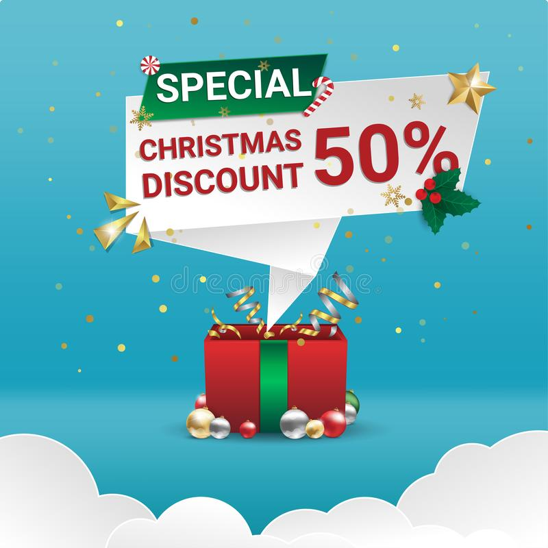 Special christmas discount realistic box on blue background stock illustration