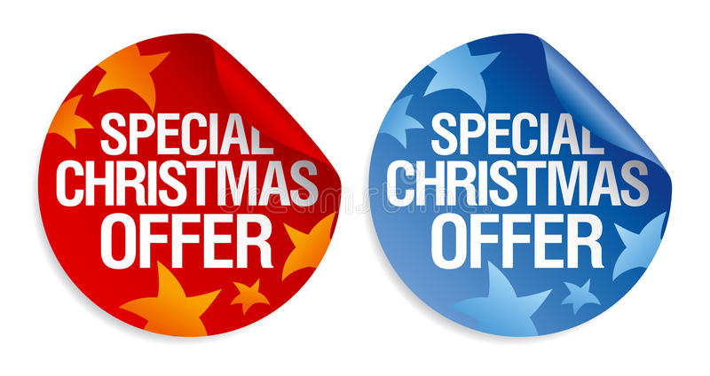 Special Christmas offer stickers. stock illustration