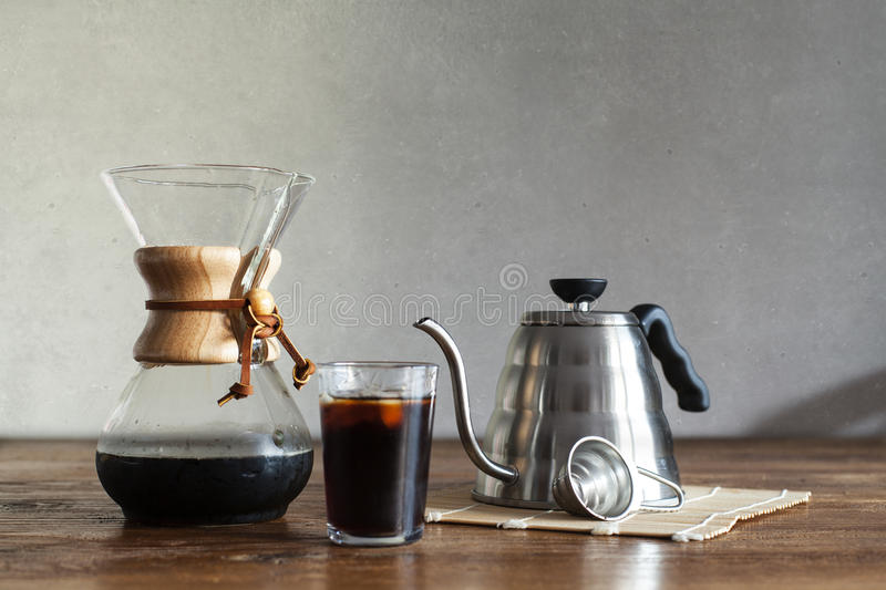 Special coffee brew on table stock image